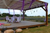 romantic terrace at lavender field