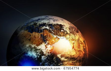Постер, плакат: Asia Europe And Africa Continents On Earth Globe, холст на подрамнике