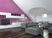 Modern loft living room interior with a sloping ceiling and purple accent wall with a grey lounge su