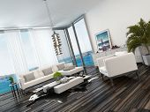 Modern living room interior overlooking the ocean with wooden parquet flooring, view windows, white