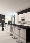 Modern black and white kitchen with a long receding bar counter with bar stools and a small compact