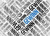 Background with german word - Gewinn (profit) - repeated in random sizes and orientations in black t