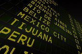 Digitally generated black airport departures board for south america