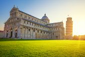 Pisa Leaning Tower And Cathedral At Sunrise