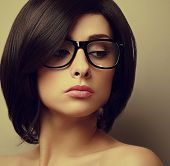 Sexy Beautiful Woman With Short Hair In Glasses. Closeup Vintage Portrait