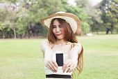 Woman Handing The Smart Phone