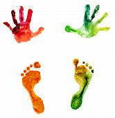 watercolor colorful handprint and footprint, on a white background