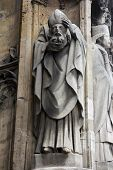 PARIS, FRANCE - NOV 11, 2012: Saint Denis statue, Church of St-Germain-l'Auxerrois founded in the 7t