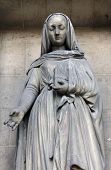 PARIS, FRANCE - NOV 09, 2012: Saint Elizabeth, architectural details of Eglise de la Madeleine. Made
