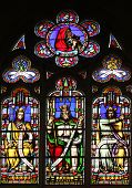 PARIS, FRANCE - NOV 11, 2012: Debora (top) and the tribes of Israel, stained glass from Church of St