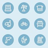 Vacation web icons , blue buttons