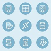 Database web icons,  blue buttons