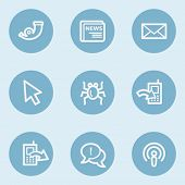 Internet  web icon set 2,  blue buttons