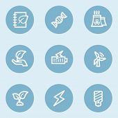 Ecology web icon set 5,  blue buttons
