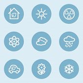 Ecology web icon set 2,  blue buttons