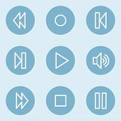 Media player web icons , blue buttons