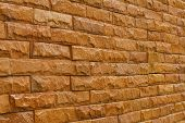 Orange Slate Stone Wall For Pattern And Background