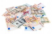 Heap Of Dollar And Euro Banknotes