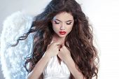 Attractive Beautiful Angel Girl Model With Wavy Long Hair