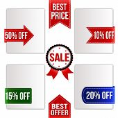 Best Price, Best Offer And Sale Ribbons Set