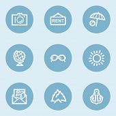 Travel  web icon set 5,  blue buttons
