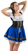 Pretty oktoberfest girl smiling on white background