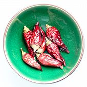 Dried Chili Peppers In A Green Bowl White Background