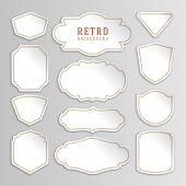Vintage labels design. Retro style borders and frames, labels, tags, badges and stamps design. Bend