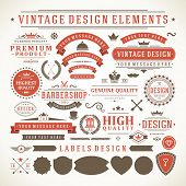 Vintage vector design elements. Retro style typographic, flourishes and calligraphic objects.Labels,