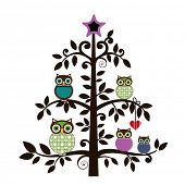 Whimsical owl family in a tree