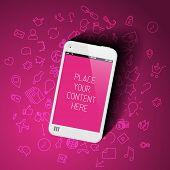 Realistic pink smartphone template with background icons and place for your content