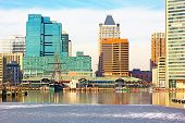 Baltimore USA - January 31 2014: View on downtown skyline from the Inner Harbor Pier 1.