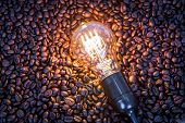 Light bulb on  coffee beans
