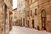 Street of the medieval village. Italy, Tuscany