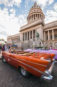 Car In Front Of Havana Capitol Building