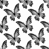 Black and white seamless pattern of butterflies