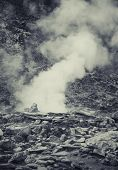 Hot spring in Indonesian vulcano aerea, artistic processed photo