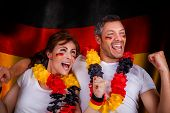 german flag soccer couple fans