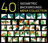 Huge mega collection of 40 geometric shape abstract backgrounds. Templates made of semicircles piece