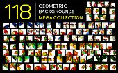 Huge mega collection of 118 geometric shape abstract backgrounds. Templates made of semicircles pieces in glossy style
