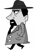 Side View Illustration of a Mafia Member Walking