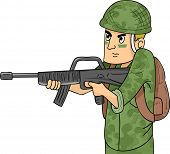 Illustration of a Soldier in Camouflage Uniform Wielding a Machine Gun
