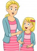 Illustration of a Mother and Daughter Wearing Matching Clothes