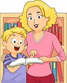 Illustration of a Mother and Her Son Buying Books in the Bookstore Together