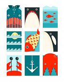 Flat Sea and Fish Rectangular Nautical Set
