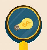 Light bulb with Magnifying glass. Vector illustration.