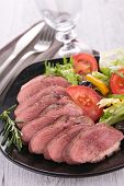 stock photo of duck breast  - duck breast and vegetables - JPG