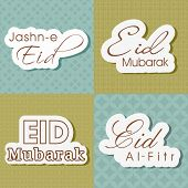 Stylish text Eid Mubarak, Jashn-e-Eid and Eid-Al-Fitr, Vintage style set for Muslim community festival.