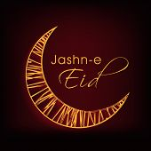 Golden crescent moon on brown background for the occasion of Muslim community festival Jashn-e-Eid c