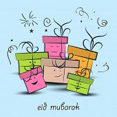 Muslim community festival Eid Mubarak celebrations background with colorful gift boxes on blue backg
